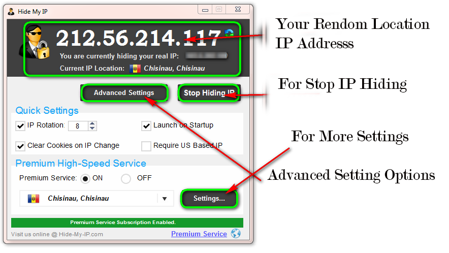 hide my ip interface setting