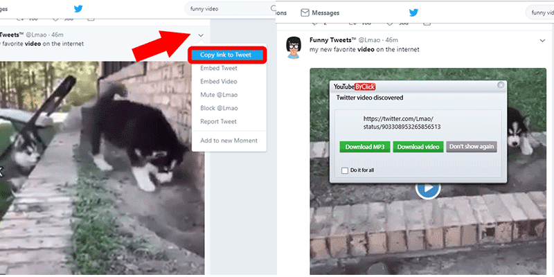How to download a video from twitter to learn how to download a video from twitter copy the url of the video and click the past url option on youtubebyclick and your video will start ccuart Images