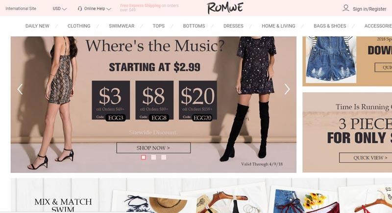 Stores like Romwe